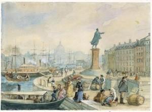 Johan Tobias Sergels staty över Gustaf III på Skeppsbron, Stockholm. Målning av Fritz von Dardel 1860