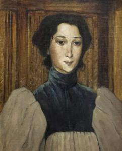 Olof Sager-Nelson: Porträtt av Jeanne Eriksson-Tramcourt, 1893. Foto: Tord Lund. Bild beskuren.