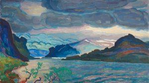 Fjällandskap, 1920. Olja på duk. Målningen är beskuren.
