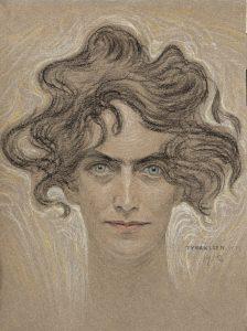 Tyra Kleen, porträtt av Lilly Sparre, 1912, pastell, 45 x 33 cm. Foto: Studio Lindblad