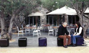 """Ulla och Gustav Kraitz sittandes på sina """"Kuber"""" i Napa, Californien 2004"""