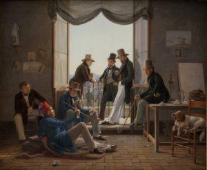 Constantin Hansen, Et selskab af danske kunstnere i Rom, 1837. Statens Museum for Kunst.